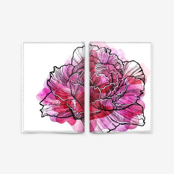 Обложка для паспорта «Розовый Пион Акварель»