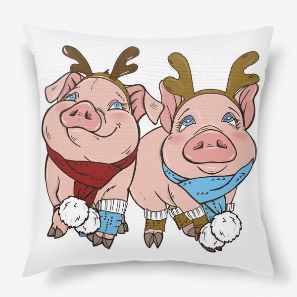 Подушка «Свинки готовятся к Новому году»