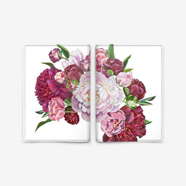 Обложка для паспорта «Букет пионов»
