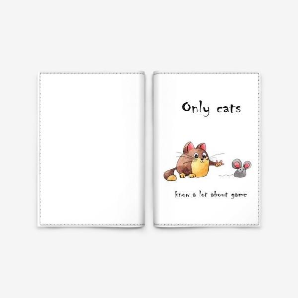 Обложка для паспорта «Кот и мышь»