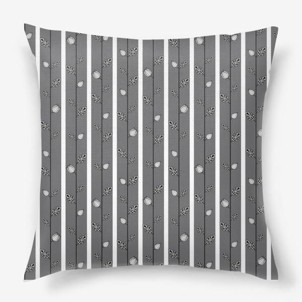 Подушка «Узор с листьями и вертикальными полосами в серо-бело-чёрной гамме.»