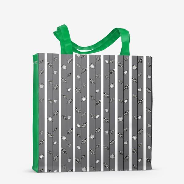 Сумка-шоппер «Узор с листьями и вертикальными полосами в серо-бело-чёрной гамме.»