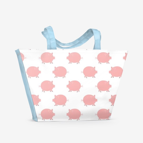 Пляжная сумка «Паттерн с хрюшками»