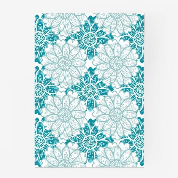 Постер «Бирюзовые цветы. Хризантемы. Паттерн»
