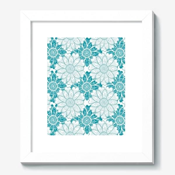 Картина «Бирюзовые цветы. Хризантемы. Паттерн»