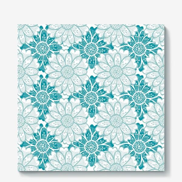 Холст «Бирюзовые цветы. Хризантемы. Паттерн»