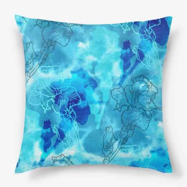 Подушка «Голубые ирисы»