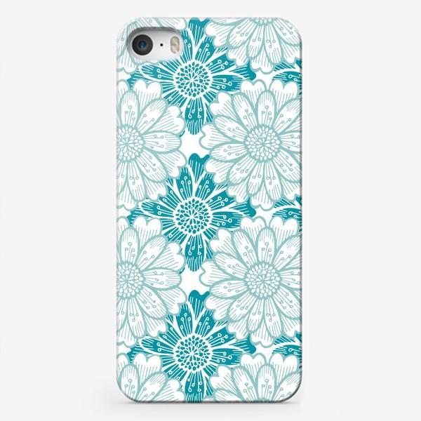 Чехол iPhone «Бирюзовые цветы. Хризантемы. Паттерн»