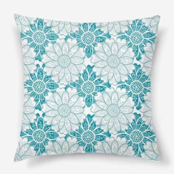 Подушка «Бирюзовые цветы. Хризантемы. Паттерн»