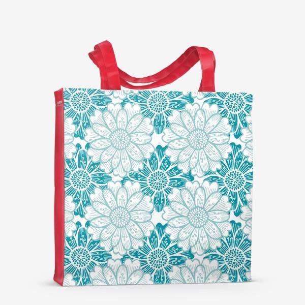 Сумка-шоппер «Бирюзовые цветы. Хризантемы. Паттерн»