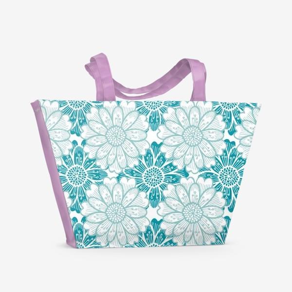 Пляжная сумка «Бирюзовые цветы. Хризантемы. Паттерн»