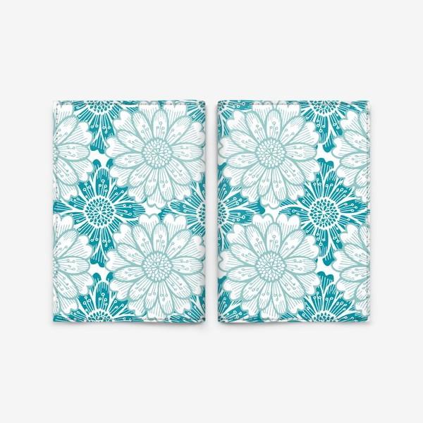 Обложка для паспорта «Бирюзовые цветы. Хризантемы. Паттерн»