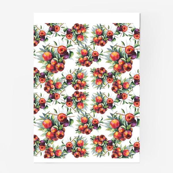 Постер «Яблоки акварель паттерн»