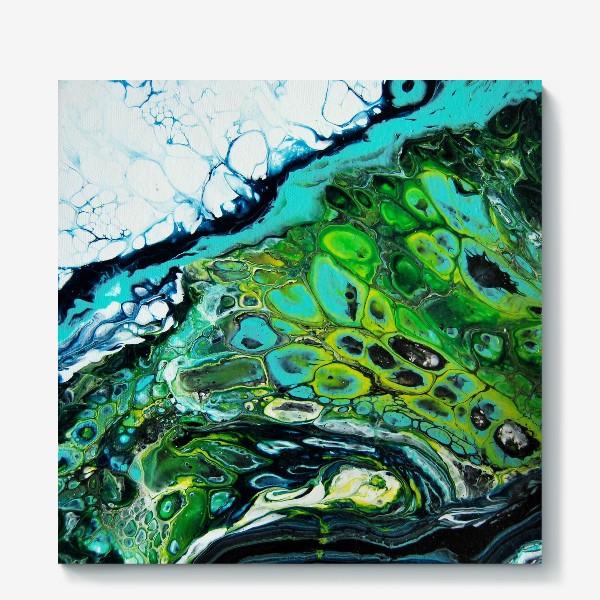 Холст «Fluid art зеленый»