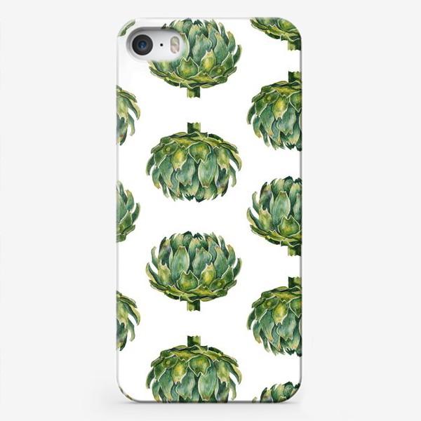 Чехол iPhone «Артишок зеленый паттерн»