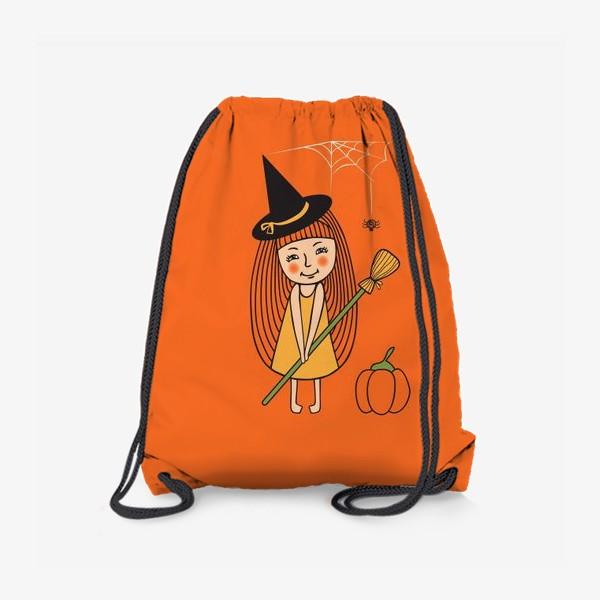 Рюкзак «Маленькая ведьма с метлой и тыквой»