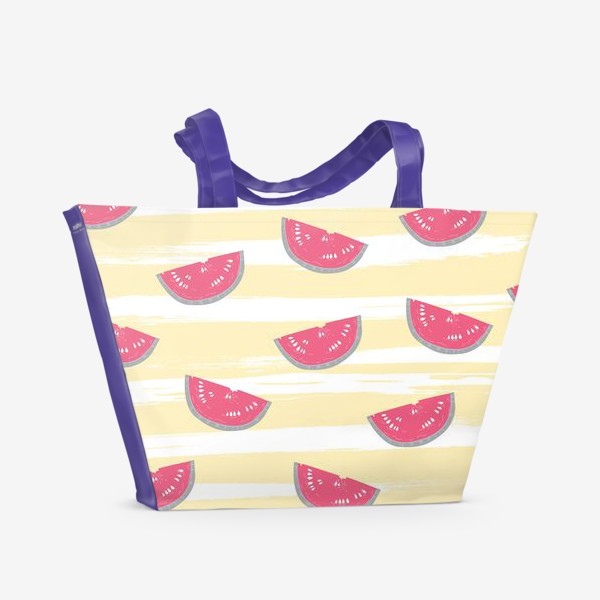 Пляжная сумка «Паттерн с кусочками арбуза»