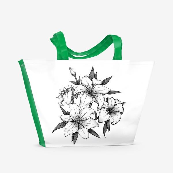 Пляжная сумка «Лилии»