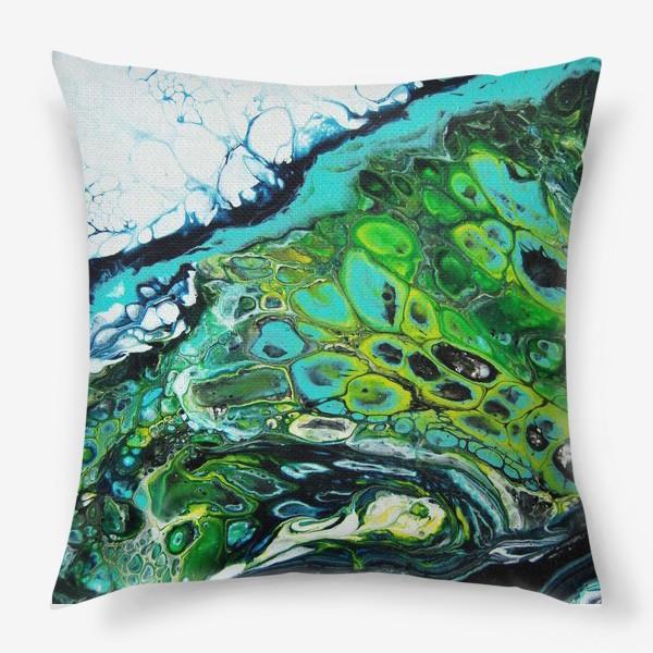 Подушка «Fluid art зеленый»