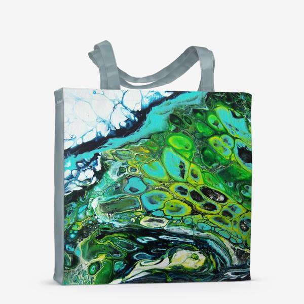 Сумка-шоппер «Fluid art зеленый»
