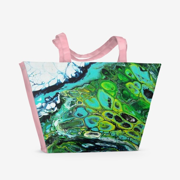 Пляжная сумка «Fluid art зеленый»