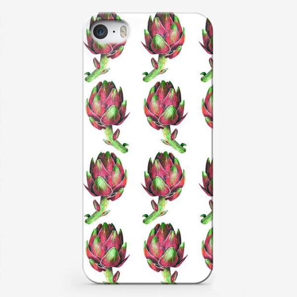 Чехол iPhone «Артишок розовый паттерн»