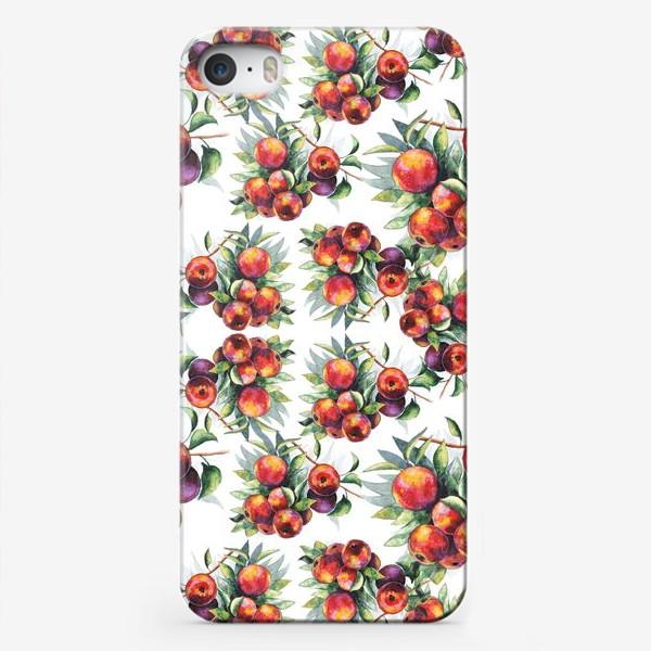 Чехол iPhone «Яблоки акварель паттерн»