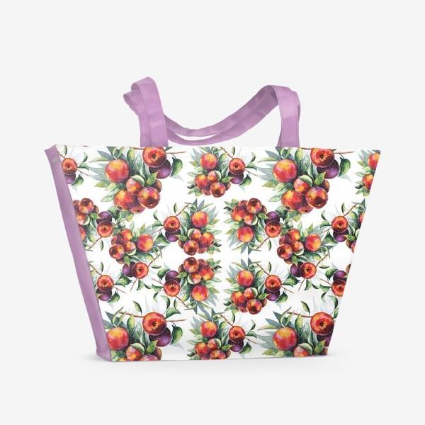 Пляжная сумка «Яблоки акварель паттерн»