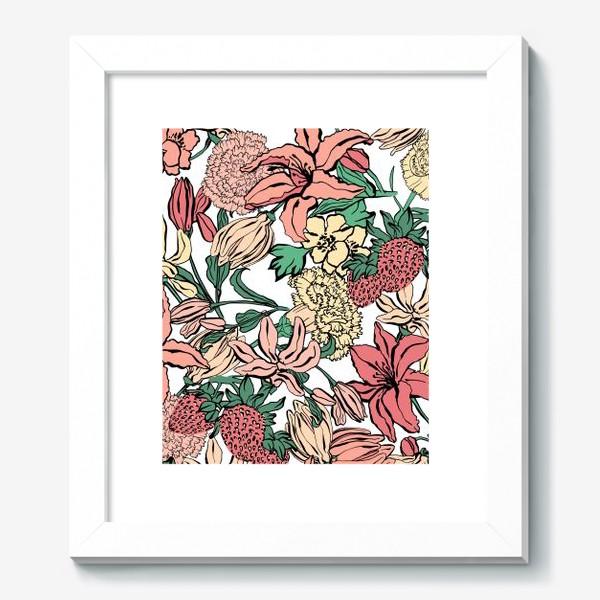 Картина «Клубника и цветы»