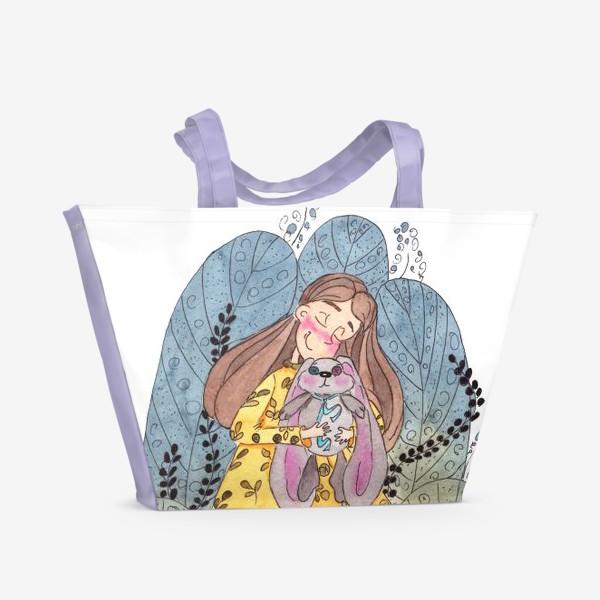 Пляжная сумка «девочка и заяц »