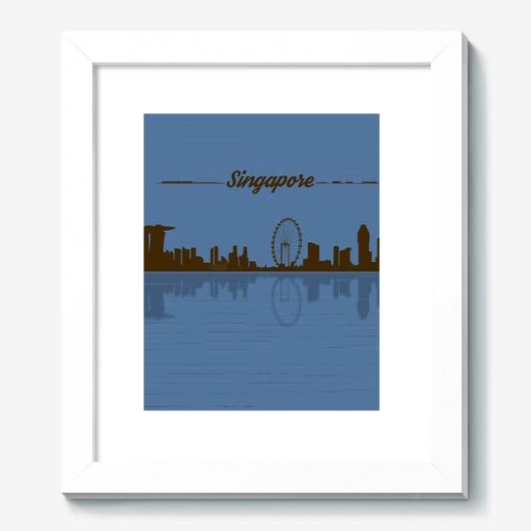 Картина «Singapore skyline in blue background»
