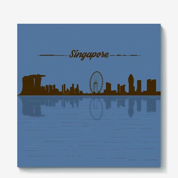Холст «Singapore skyline in blue background»