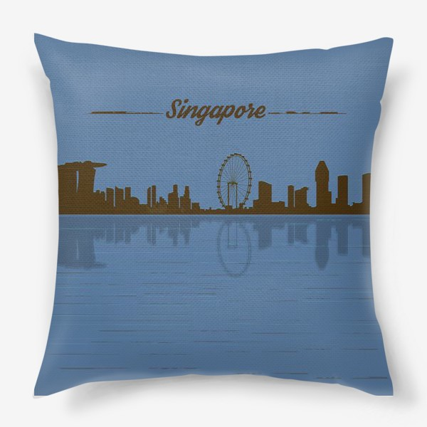 Подушка «Singapore skyline in blue background»