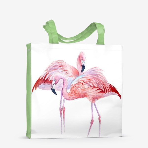 Сумка-шоппер «розовый фламинго и тропики»