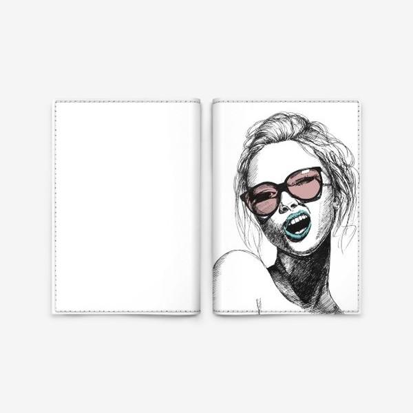 Обложка для паспорта «Девушка в розовых очках»