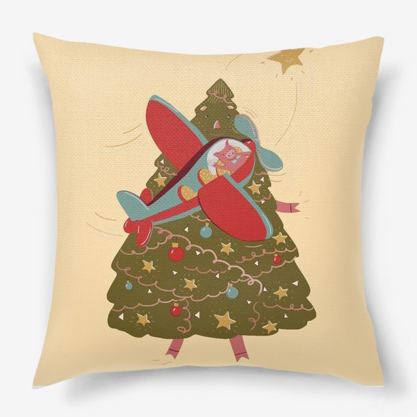 Подушка «Хрюшка в самолете и елка»