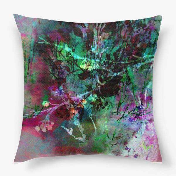 Подушка «Цветочный пейзаж. Коллаж»