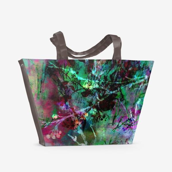 Пляжная сумка «Цветочный пейзаж. Коллаж»