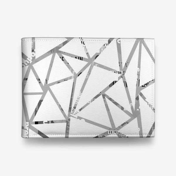 Кошелек «Треугольная структура с шрифтовым коллажем»