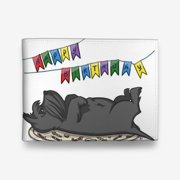 Кошелек «С Днем рождения. Торт и шотландский скотч терьер»
