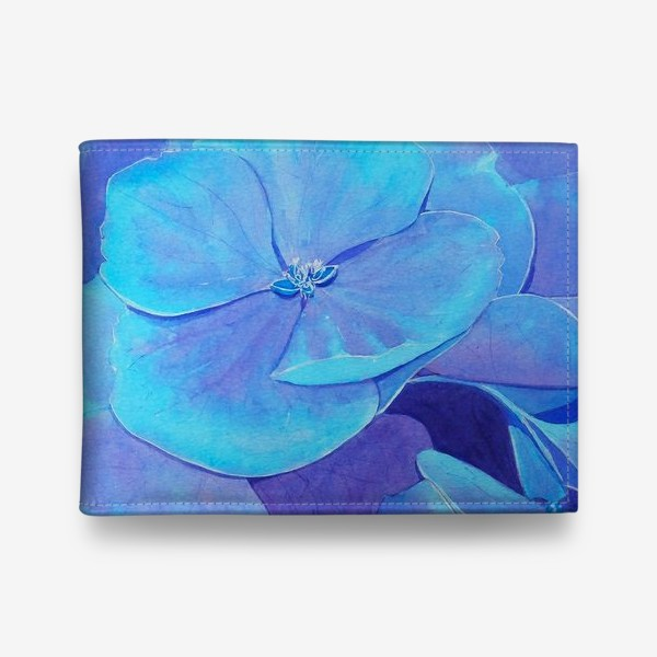 Кошелек «Цветы голубой гортензии, акварельный летний ботанический принт»