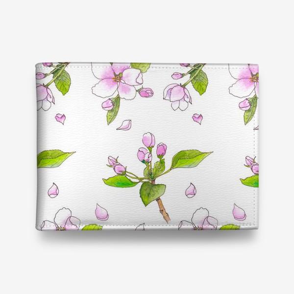 Кошелек «Весна. Акварельный принт Цветущая яблоня. Цветы»