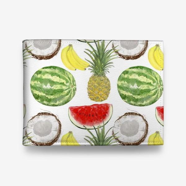 Кошелек «Фрукты . Ананас,арбуз,банан,кокос»