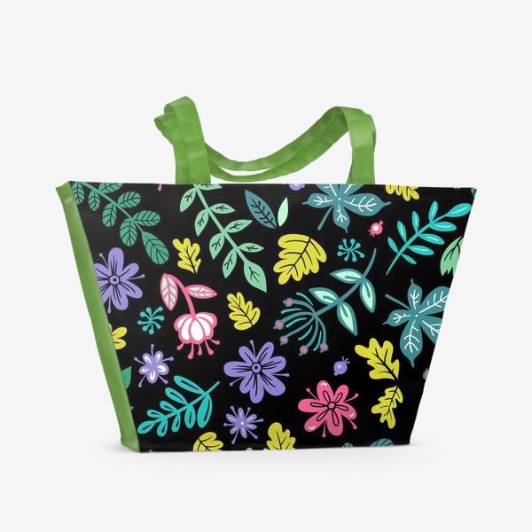 Пляжная сумка «Цветочная ночь»