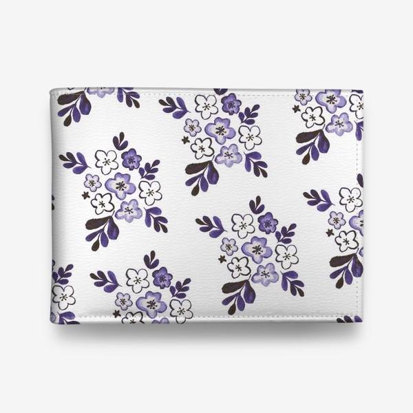 Кошелек «Фиолетовый акварельный цветочный паттерн»