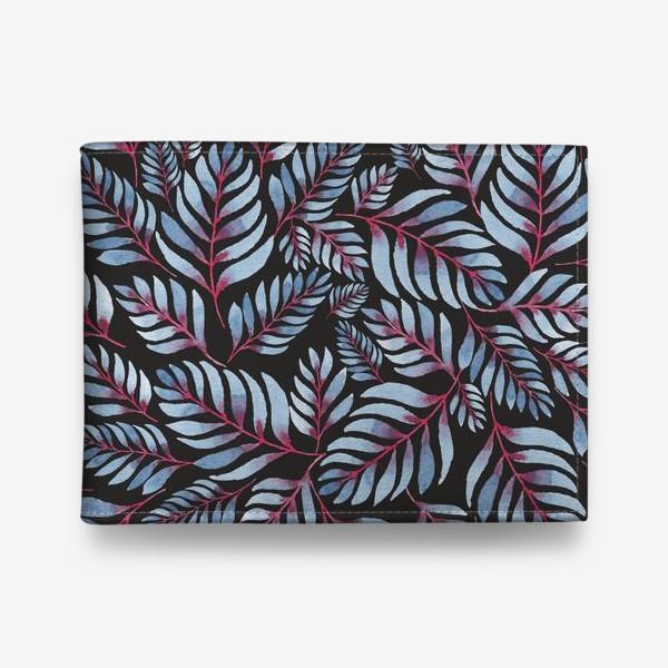 Кошелек «Голубые листья с красной серединкой на черном фоне»