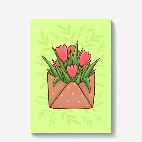 Холст «Конверт с тюльпанами»