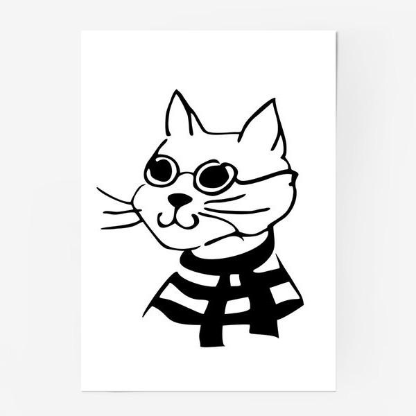 Постер «Кот в матроске и очках»