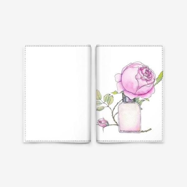 Обложка для паспорта «Английская розовая роза и флакон духов. Акварельный скетч на белом фоне»