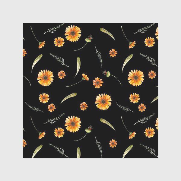 Скатерть «Оранжевые цветы. Акварельный бесшовный паттерн на черном фоне»
